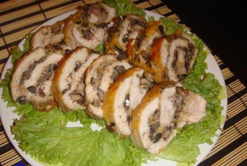 Рулет из куриных грудок с грибами рецепт пошагово