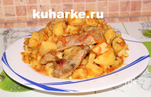 Свиные рёбра тушёные с картошкой в мультиварке рецепты